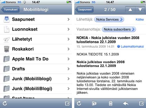 iPhone 3G Mail