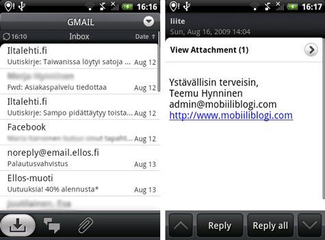 HTC Hero Sense sähköposti